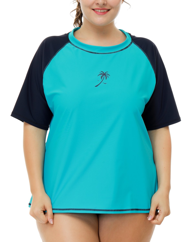 V for City Womens Plus Size Rash Guard Swimsuit Short Sleeve Active Swim Shirt Rashguard 3X Blue