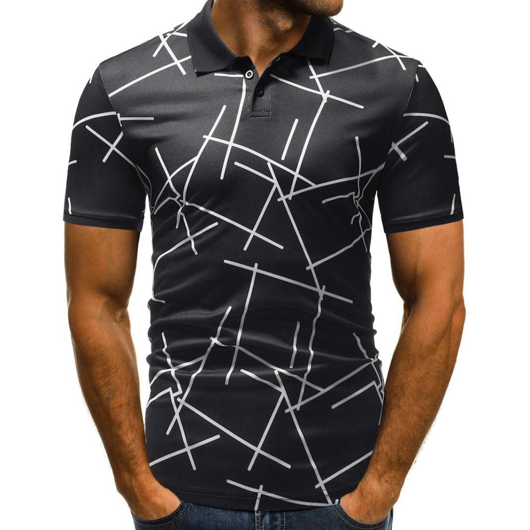 vermers Mens Polo Shirts Buttons Design Half Cardigans Short Sleeve Patchwork Casual T Shirt(L, Black)