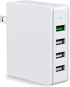 USB Wall Charger 4 Port QC 3.0 Fast Charger 3A Desktop Charging Station Multi Port Plug Fast Travel Cube Compatible for iPhone Xs/XS Max/XR/X/8/7/6/Plus iPad Pro/Air 2/Mini 3/Mini 4 Samsung S4/S5