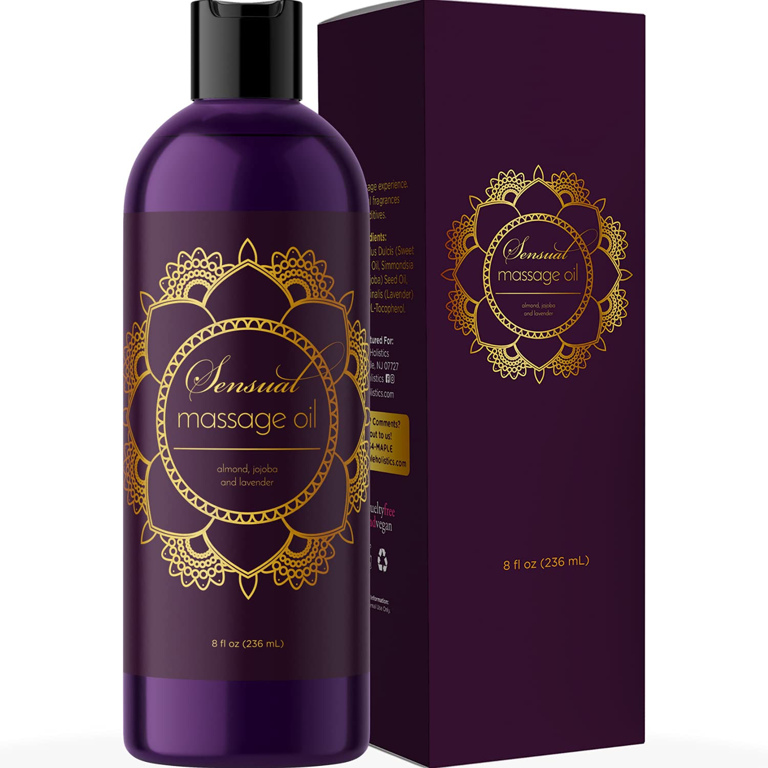 Sensual Massage Oil w/Pure Lavender Oil - Relaxing Almond & Jojoba Oil - Women & Men – 100% Natural Hypoallergenic Skin Therapy - USA Made