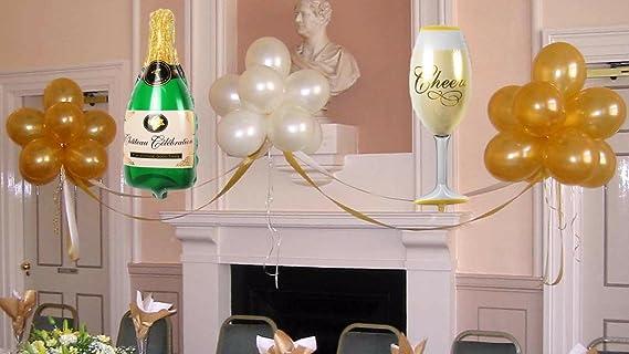 Concepts Globos de Mylar (champán) de una forma de las botellas de vino 39 Pulgadas Dorado, Blanco, Verde: Amazon.es: Juguetes y juegos