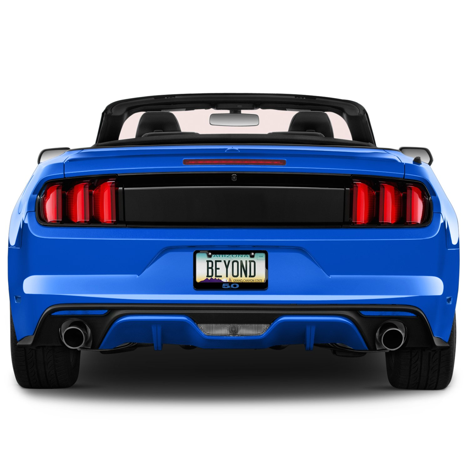 Ford Mustang 5.0 in Blue Black Metal License Plate Frame iPick Image