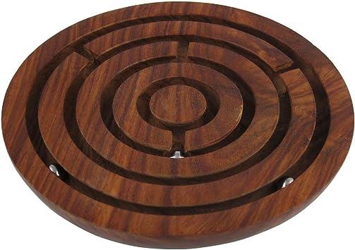 RoyaltyLane Laberinto bola de juego de mesa en el laberinto juego de rompecabezas - decoración de madera juego de laberinto casa tablero de juego - diámetro de 10,2 cm: Amazon.es: Juguetes y juegos