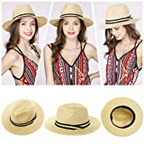 """24"""" Inch Mens Packable Ribbon Band Straw Fedora"""