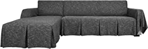 YEMYHOM Sectional Couch Covers 2-Piece Linen L Shape Sofa Cover with Ruffles Durable Slip Covers for Dogs Furniture Protector Slipcovers for Living Room (2-Seat with Right Chaise, Charcoal Gray)