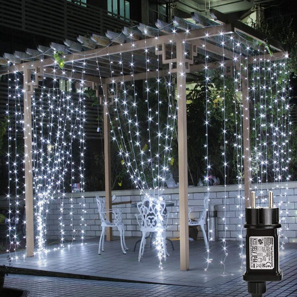 Lepro Cortina de Luces LED con Enchufe 3x3m 306 LED, Luz Decorativa Interior y Exterior Blanco Frío, Impermeable, Cadena de Luces 8 Modos Luz, ...