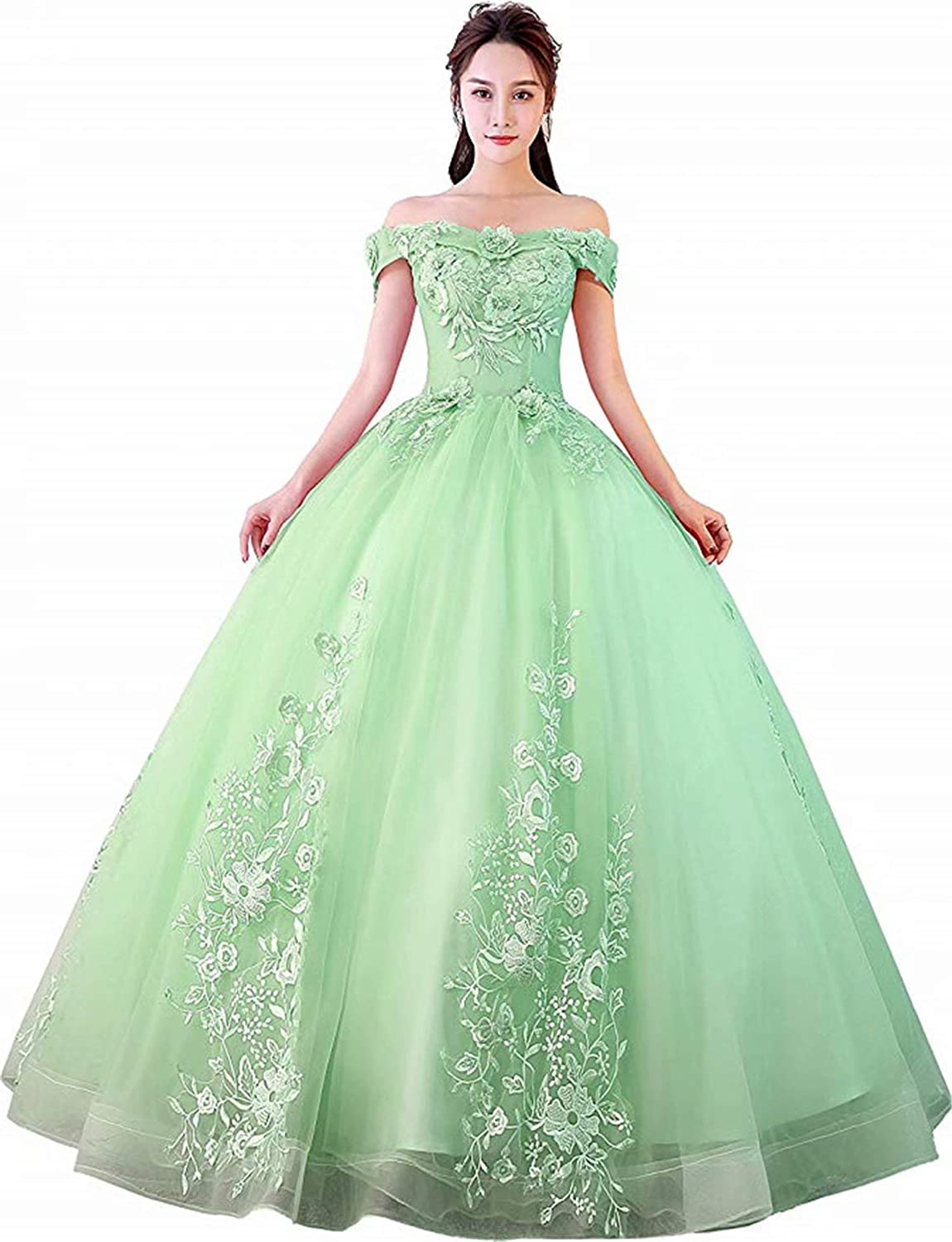 Pale Green Honeywedding Women's Sweet 16 Quinceanera Dresses Off Shoulder Lace Tulle Long Prom Ball Gowns Plus Size