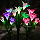 Outdoor Solar Garden Lights [3 Pack] - WdtPro Upgraded Waterproof Solar Powered Lights with 12 Lily Flower, 7 Colors Changing