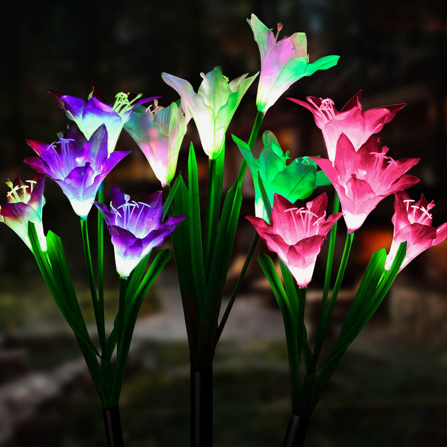 Solar Lights Outdoor [3 Pack] - WdtPro Upgraded Waterproof Solar Garden Lights with 12 Lily Flower - 7 Color Changing Solar Landscape Decorative Lights for Garden, Patio(Purple, White & Pink)