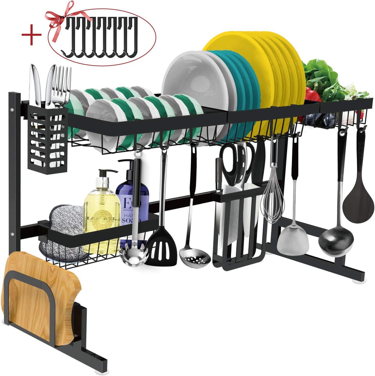 Estante para secar platos sobre el fregadero – Escurridor de platos grande ajustable para organizador de cocina de almacenamiento ahorro de espacio…