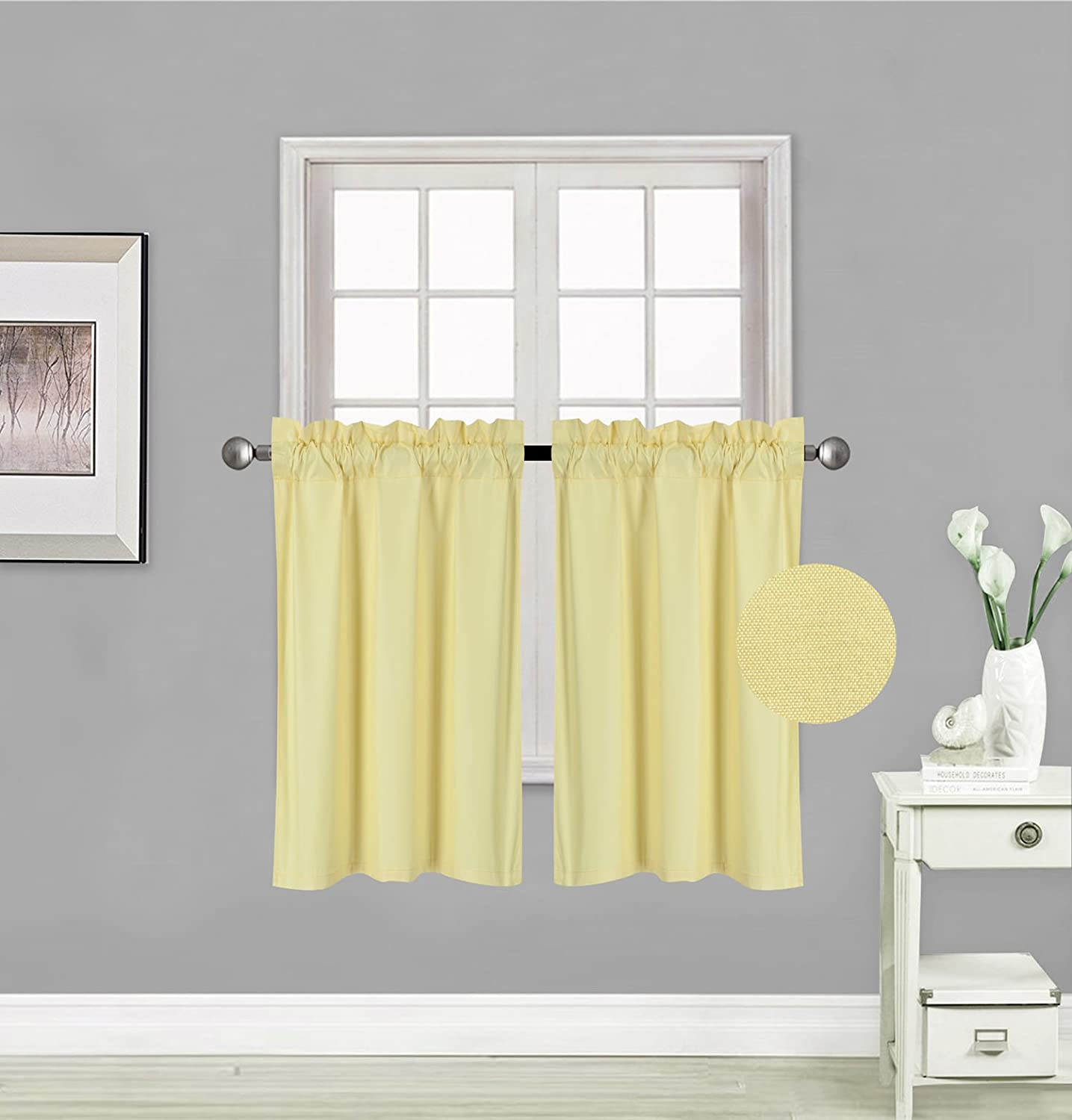 """Elegant Home 2 Panels Tiers Small Window Treatment Curtain Insulated Blackout Drape Short Panel 30""""W X 36""""L Each for Kitchen Bathroom or ANY Small Window # R5 (Yellow)"""