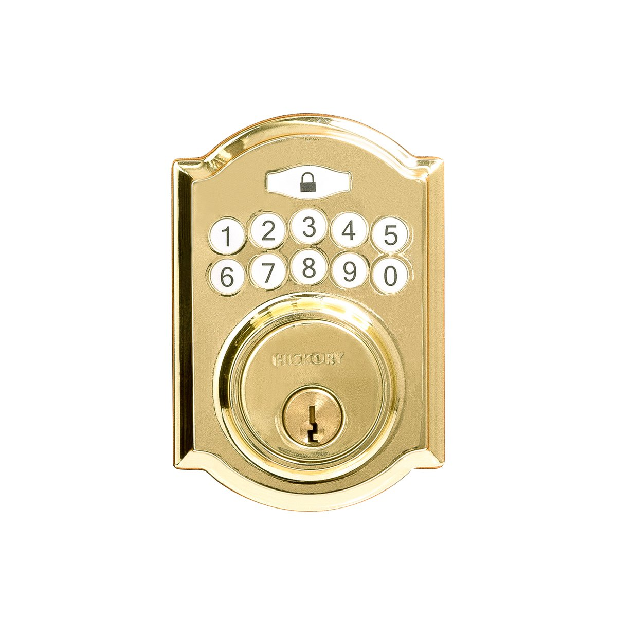 Hickory Hardware H076388-PB Securemote Smart Bluetooth Grade 3 Electronic Keypad Single Cylinder Deadbolt, 2-11 16 X 3-7 8 X 7 8 , Polished Brass