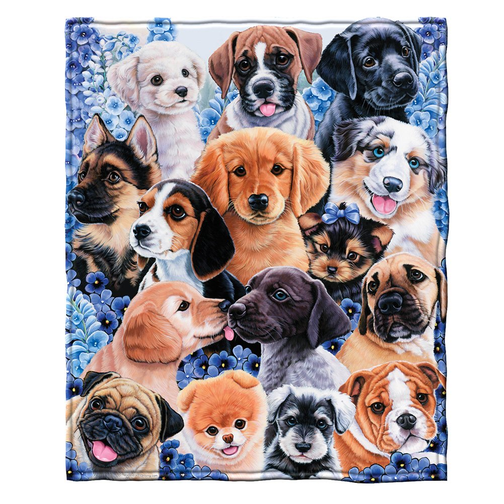 """Dawhud Direct Super Soft Full/Queen Size Fleece Blanket by Jenny Newland, 75"""" x 90"""" (Puppy Collage)"""