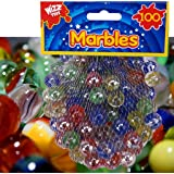 100 x CLASSIC RETRO GLASS COLOURED MARBLES KIDS TOYS PARTY BAG FILLERS STUFFERS by Guaranteed4Less