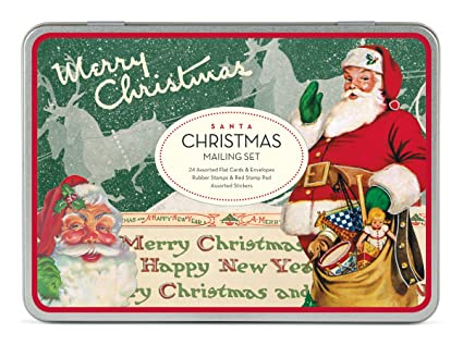 cavallini christmas santa mailing sets 24 assorted cards with envelopes - Mailing Christmas Cards