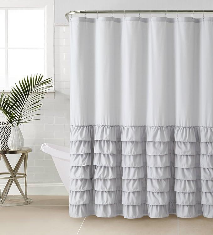 Vcny Home Melanie Collection Bathroom Shower Curtain Chic Stylish Ruffle Fabric Design Machine Washable 72x72 Grey Home Kitchen Amazon Com