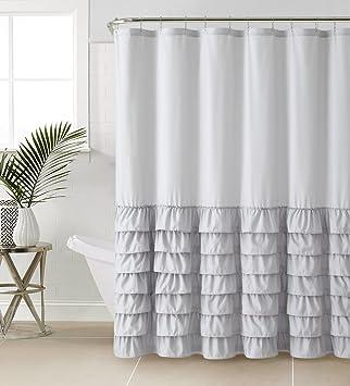VCNY Melanie Ruffle Shower Curtain, Gray