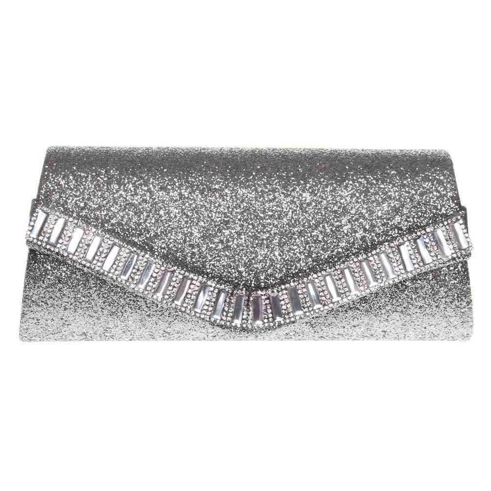 FASHIONROAD Evening Clutch, Womens Rhinestone Envelope Clutch Purse, Glitter Handbag for Wedding & Party Silver