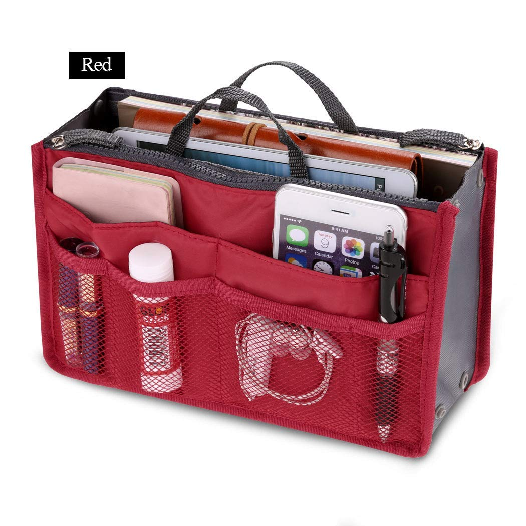 Fashion Women Multifunction Travel Cosmetic Makeup Insert Pouch Toiletry Organizer Handbag Storage Pur Closet Systems (Red)