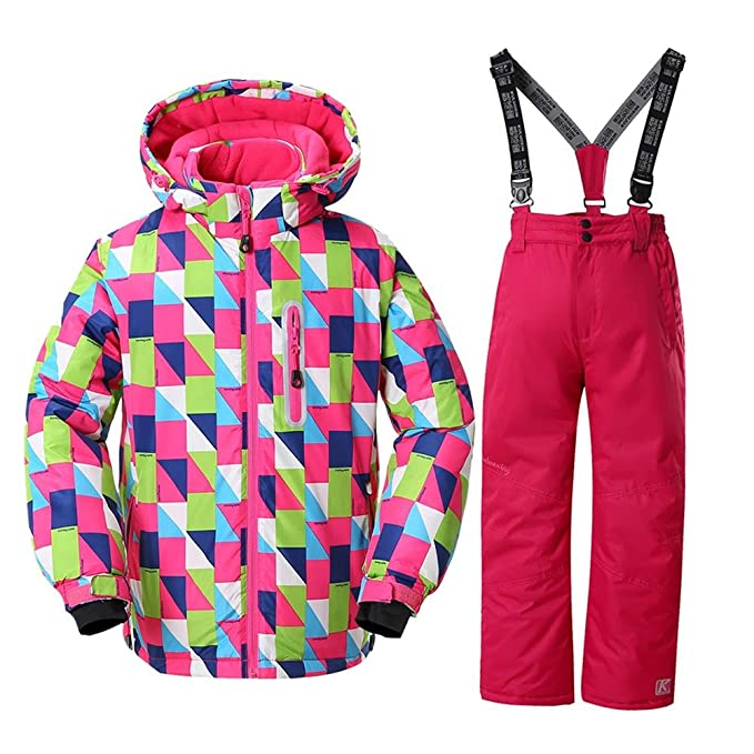 9a450d7d30c0 HOTIAN Girls Windproof Snow Jacket Insulated Ski Jacket + Pants ...