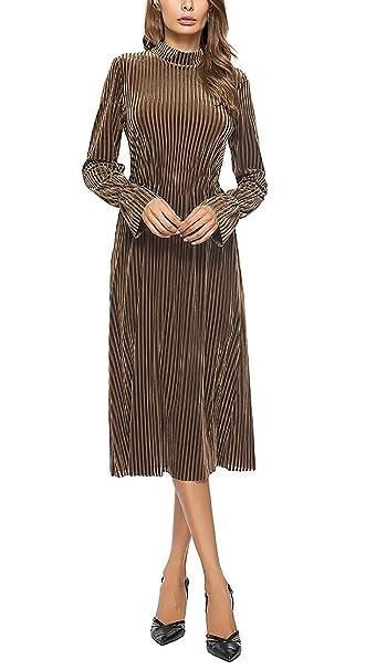 Vestiti Donna Eleganti da Cerimonia da Sera Festa Abito Manica Lunga Vintage  Velluto Moda Unique Autunnali Et Invernali Linea Ad A Vita Alta Vestiti ... d8344d4deb9