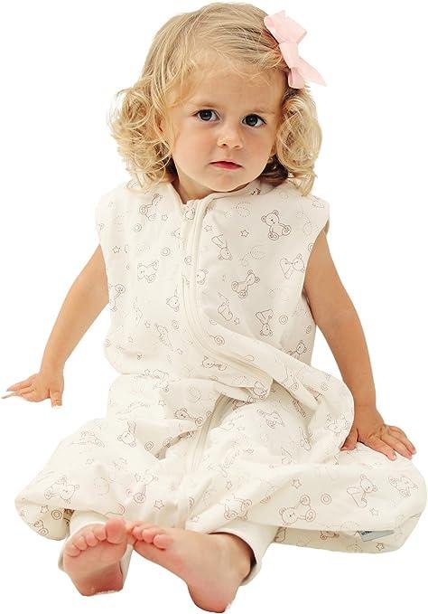 Saco de dormir de verano Slumbersac, con agujeros para los pies y diseño de ositos de peluche, 1,0 tog beige beige Talla:4-5 años: Amazon.es: Bebé
