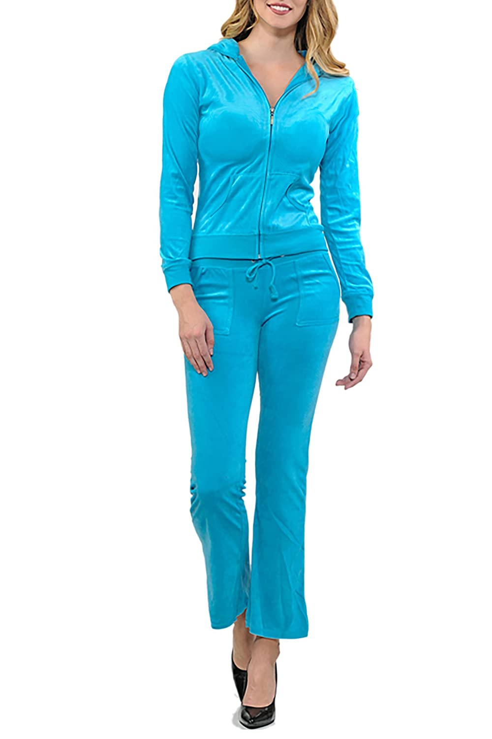 ViiViiKay Women's Soft Velour Tracksuit Athletic Zip Up Hoodie & Sweat Pants Set