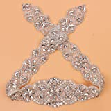 "Sewing Bridal Rhinestone Appliques-DIY Wedding Dress Decorative or Sashes-Sliver-1 Piece(23.4""2""in)"