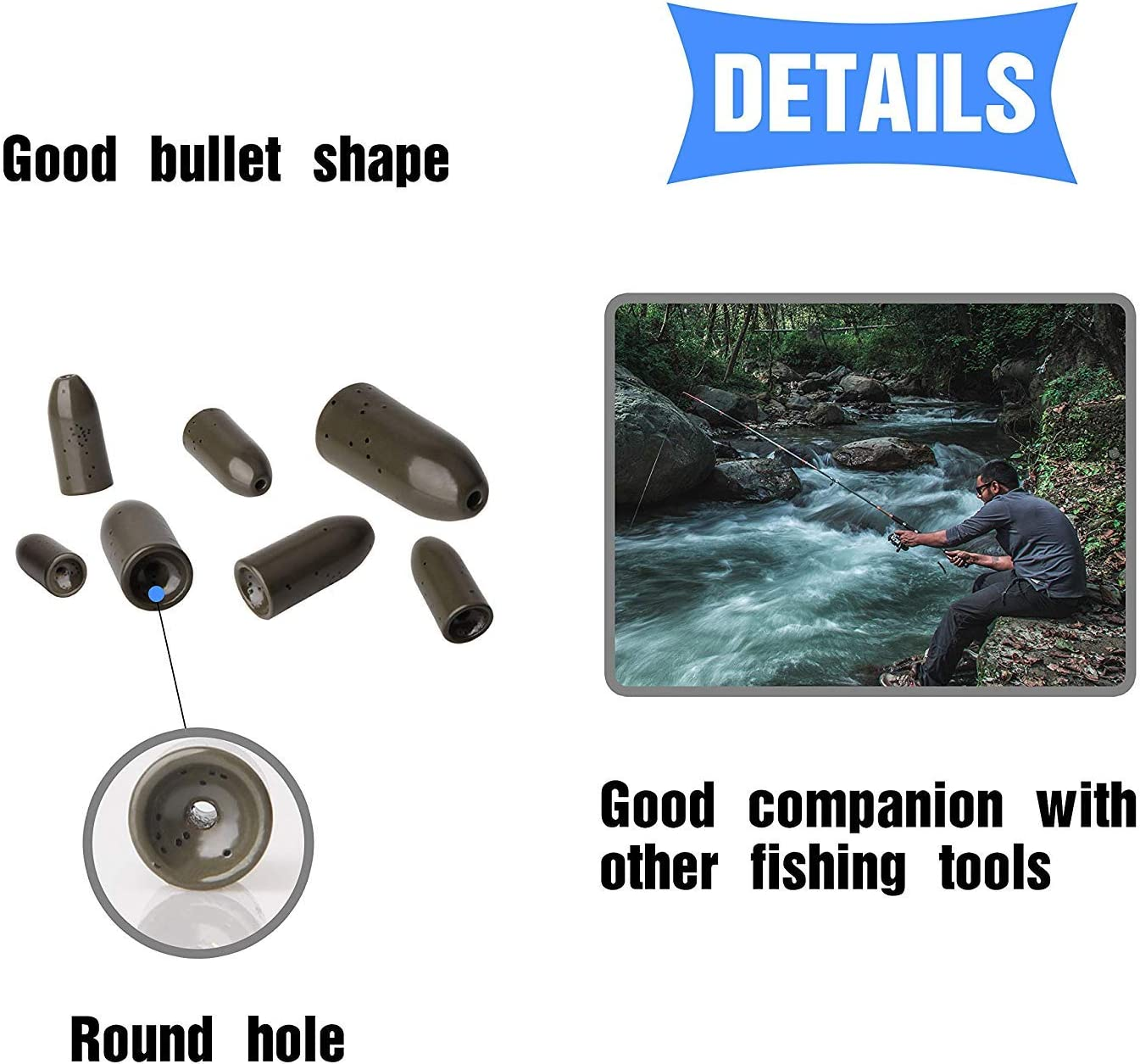 Bass Fishing Pitching Flipping Sinker Weight for Carolina Rig Texas Rig Punch Rigs Multiple Sizes Colors Available Tungsten Bullet Worm Fishing Weights