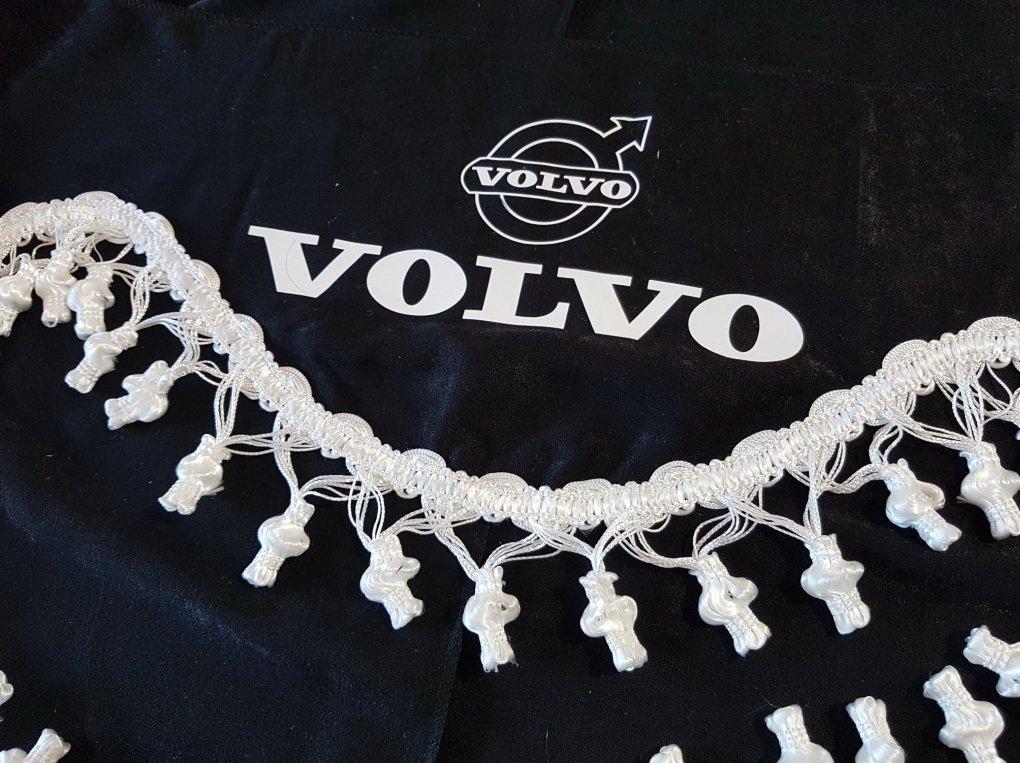 adatta per tutti i modelli Truck accessori decorazione peluche tessuto Set di 3 tende nere con nappe bianco taglia universale