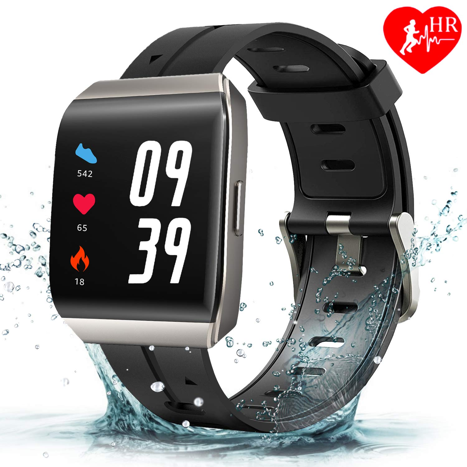 Anthter Fitness Tracker, Activity Tracker 1.3 Color Screen Fitness Watch with Heart Rate Blood Pressure Sleep Monitor, IP68 Waterproof Smart Watch, Step Calorie Counter Pedometer for Kids Women Men