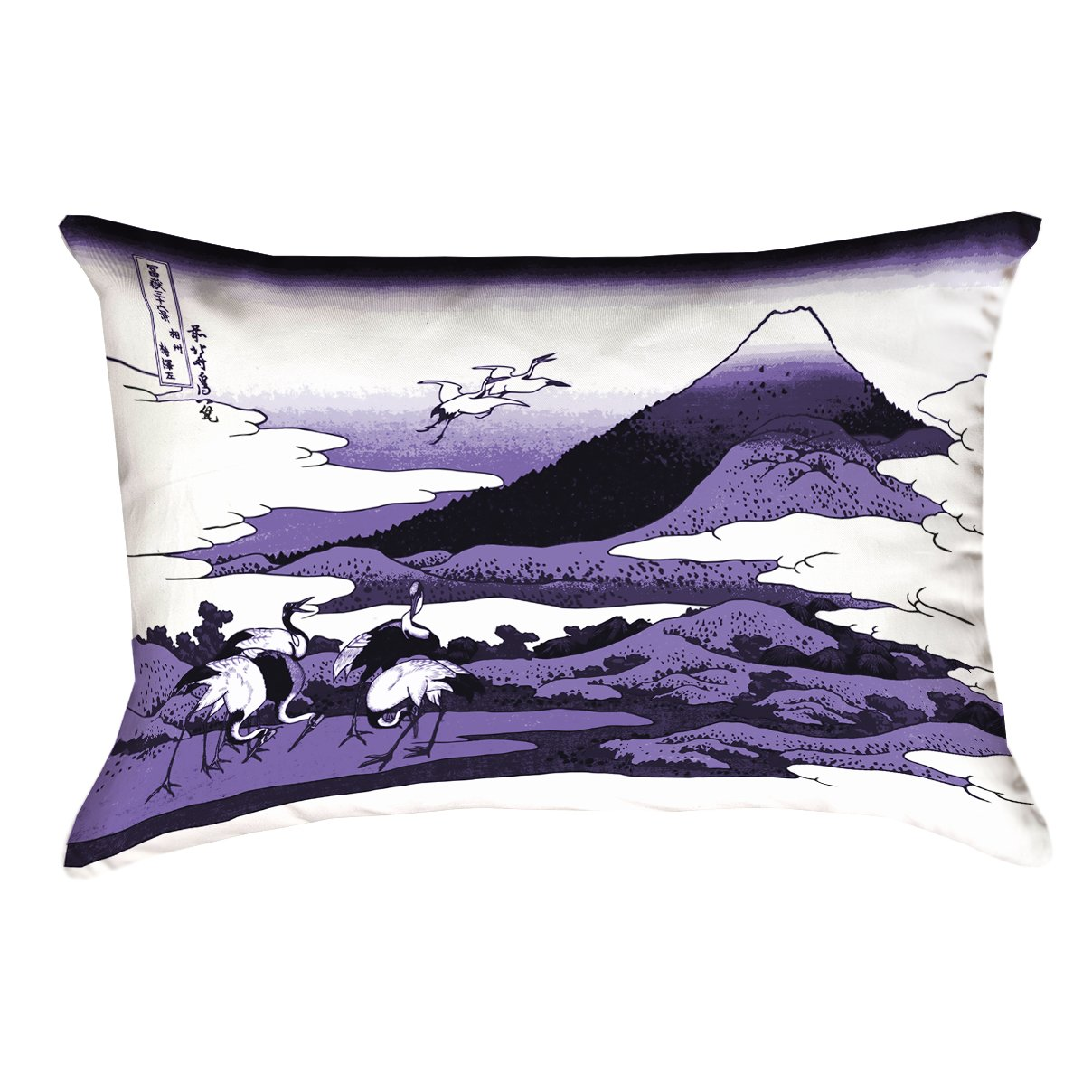 ArtVerse Katsushika Hokusai 14 x 20 Spun Polyester Japanese Cranes in Purple Pillow