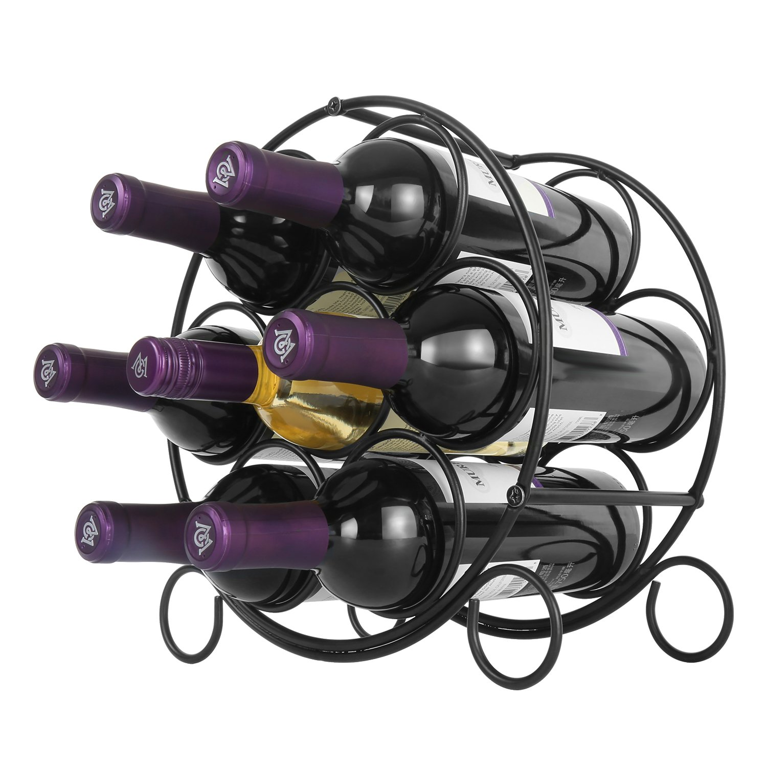 Linkfu Countertop Wine Rack Free Standing Tabletop Metal - Hold 7 Bottles - Wine Storage, Black by Linkfu