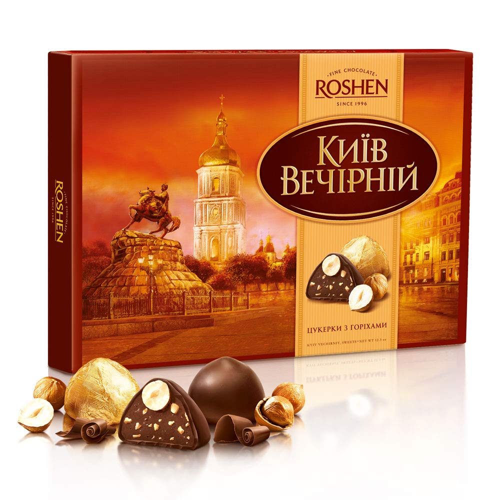 Chocolate Candies with Whole Hazelnut, Kiev Vecherniy by Roshen 352 g | 12.4 oz