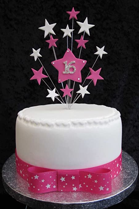 Super 16Th Birthday Cake Topper Hot Pink And White Stars Suitable For A Birthday Cards Printable Inklcafe Filternl