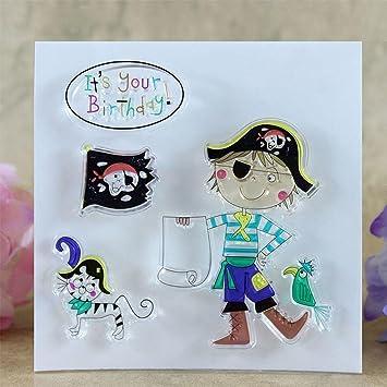 Amazon.com: Cloudga Tarjetas feliz cumpleaños piratas DIY ...