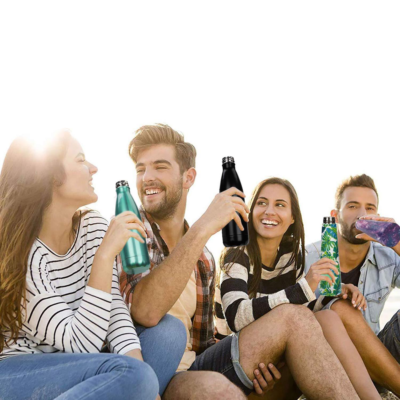 MaoXinTek Bottiglia dAcqua in Acciaio Inox Doppia Parete Sottovuoto Coibentato Bottiglia Termica Portatile Sport Borracce Thermos per Scuola Allaperto Palestra Foglia Verde 500ml