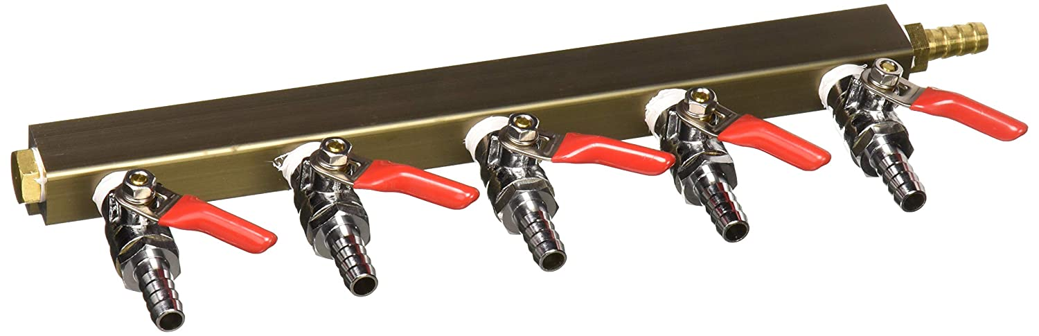 """The Weekend Brewer 5-way 5/16"""" Barb CO2 Distributor Manifold with integrated check valves"""