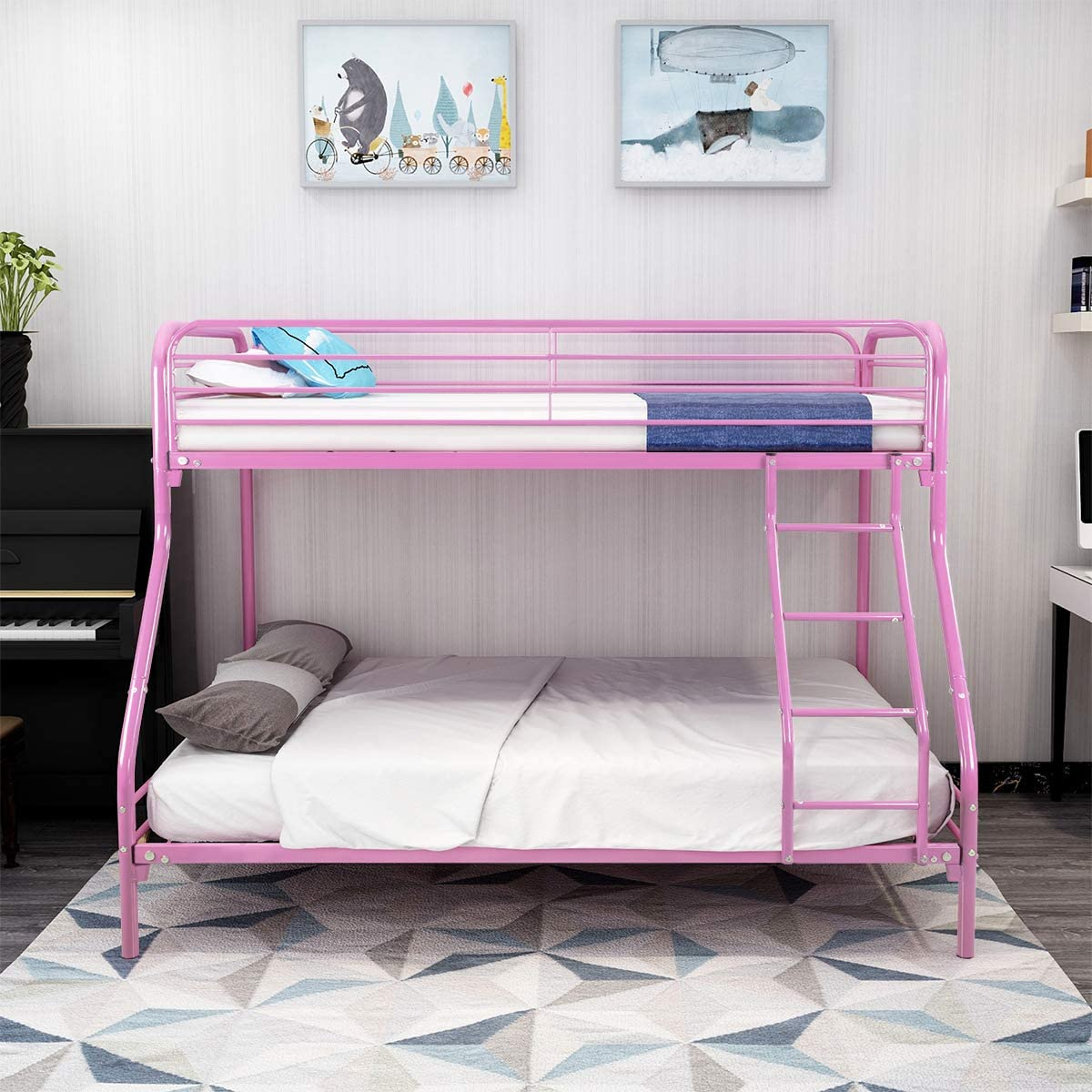 Metal Twin Over Full Bunk Bed Heavy Duty Steel Slabs Platform With Ladder Sturdy Frame Foundation Blue Color Furniture Home Urbytus Com