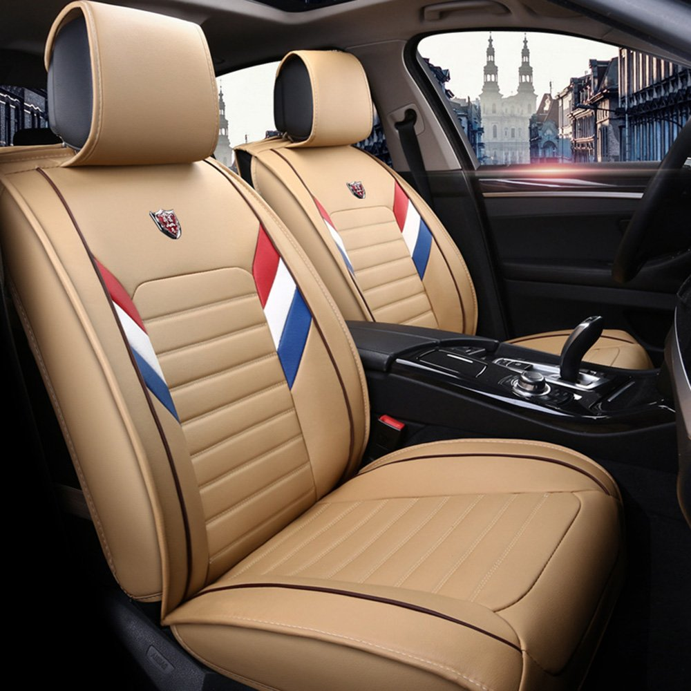 カーシートカバー自動車用サイドエアバッグ車内用ユニバーサルシートカバー カローラ アクシオ、プリウス、プリウスPHV 、ポルテ、ルーミー、アリオン、カムリ、ヴィッツ、オーリス、パッソ プレミオ、マークX、 アベンシス、カローラ フィールダー、プリウスα、 C-HR、 ハイラックス B07B8ZQK73 ベージュ ベージュ