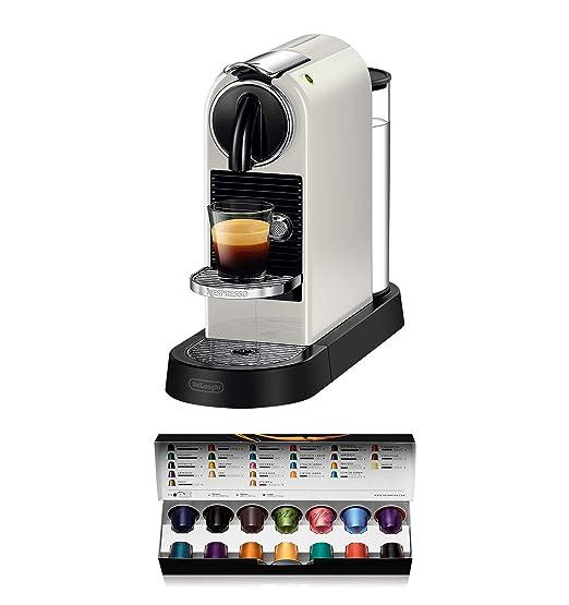 Nespresso DeLonghi Citiz EN167.W - Cafetera monodosis de cápsulas Nespresso, compacta, 19 bares, apagado automático, color blanco