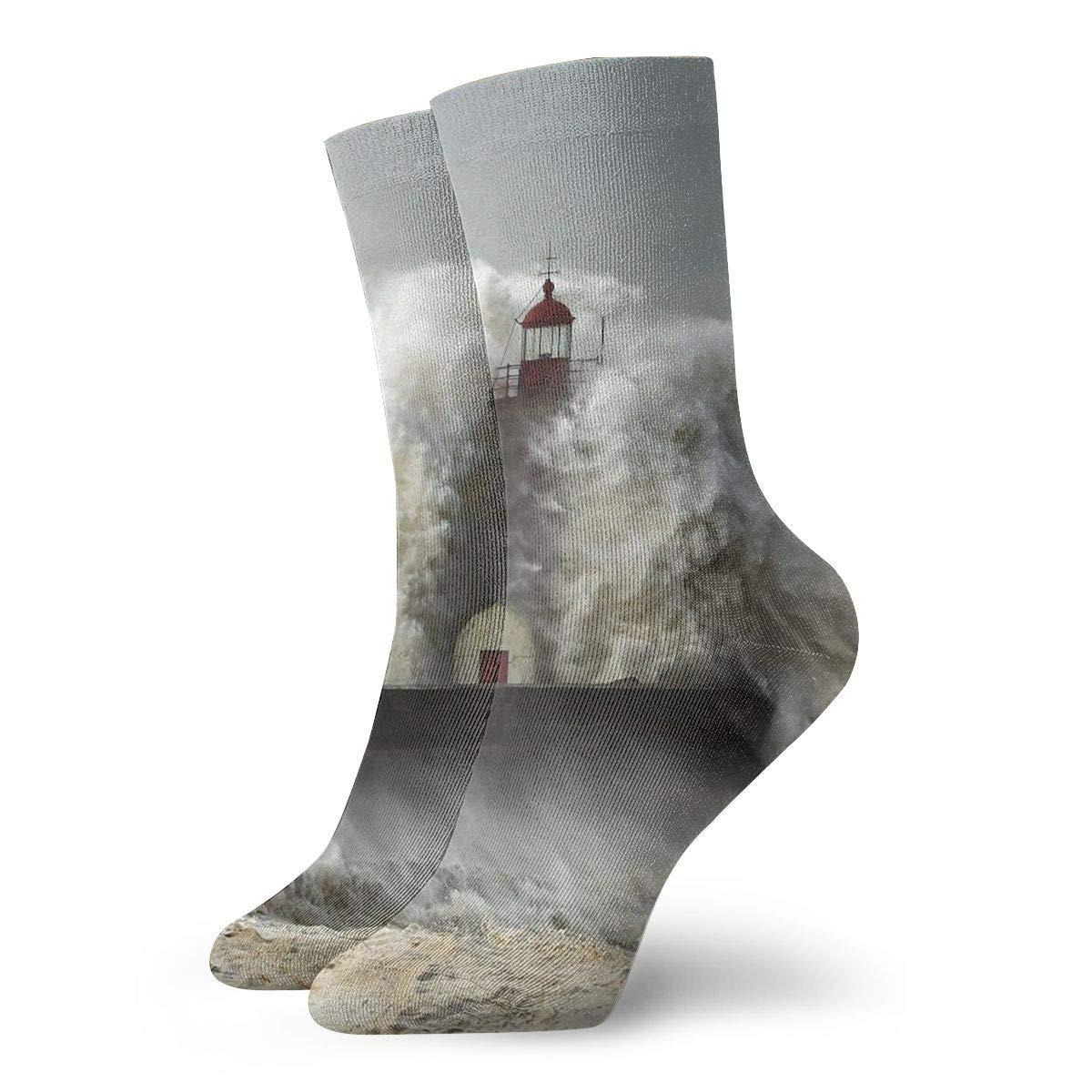 Unisex High Ankle Cushion Crew Socks Sea Waves Casual Sport Socks