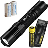 Nitecore P10GT 312 Yard 900 Lumen Tactical LED Flashlight with a UM10 Battery Charger, 2300mAh Li-ion 18650 battery, 2x LumenTac CR123 Batteries - P10 Upgrade