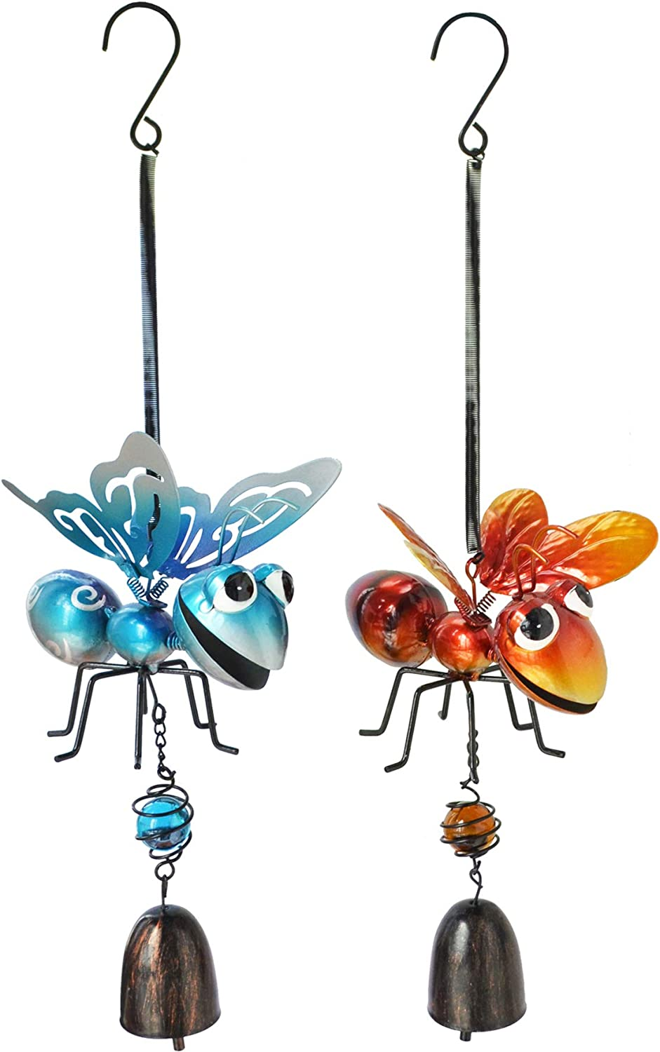 GIFTME 5 Wind Chimes Outdoor Decoration 2 Pack Bee and Butterfly Metal Wind Bells Perfect for Home,Window,Patio,Tree and Yard Garden Hanging Decor