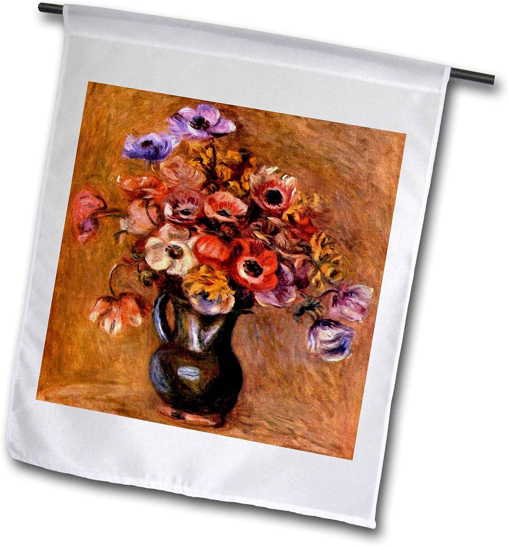 3dRose VintageChest – Masterpieces - Renoir - Vase with Anemones - 12 x 18 inch Garden Flag (fl_303061_1)