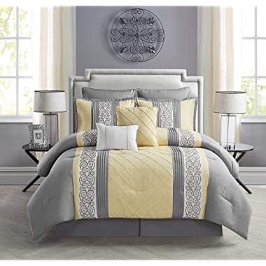 VCNY 8 Piece Farion Comforter Set, King, Yellow