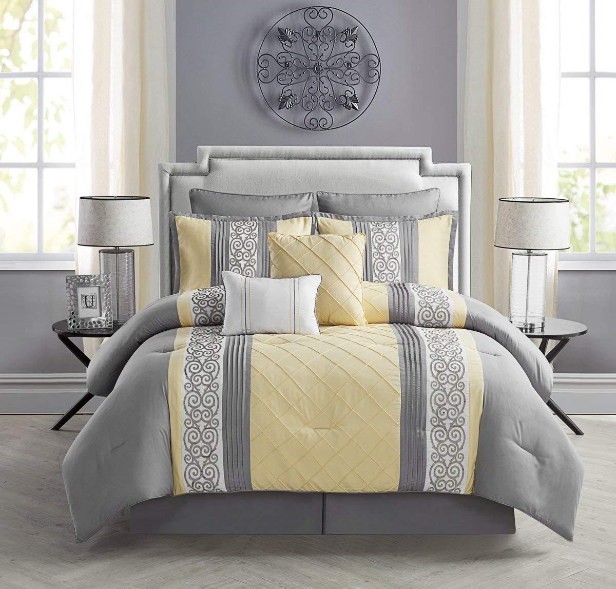 VCNY 8 Piece Farion Comforter Set, Queen, Yellow