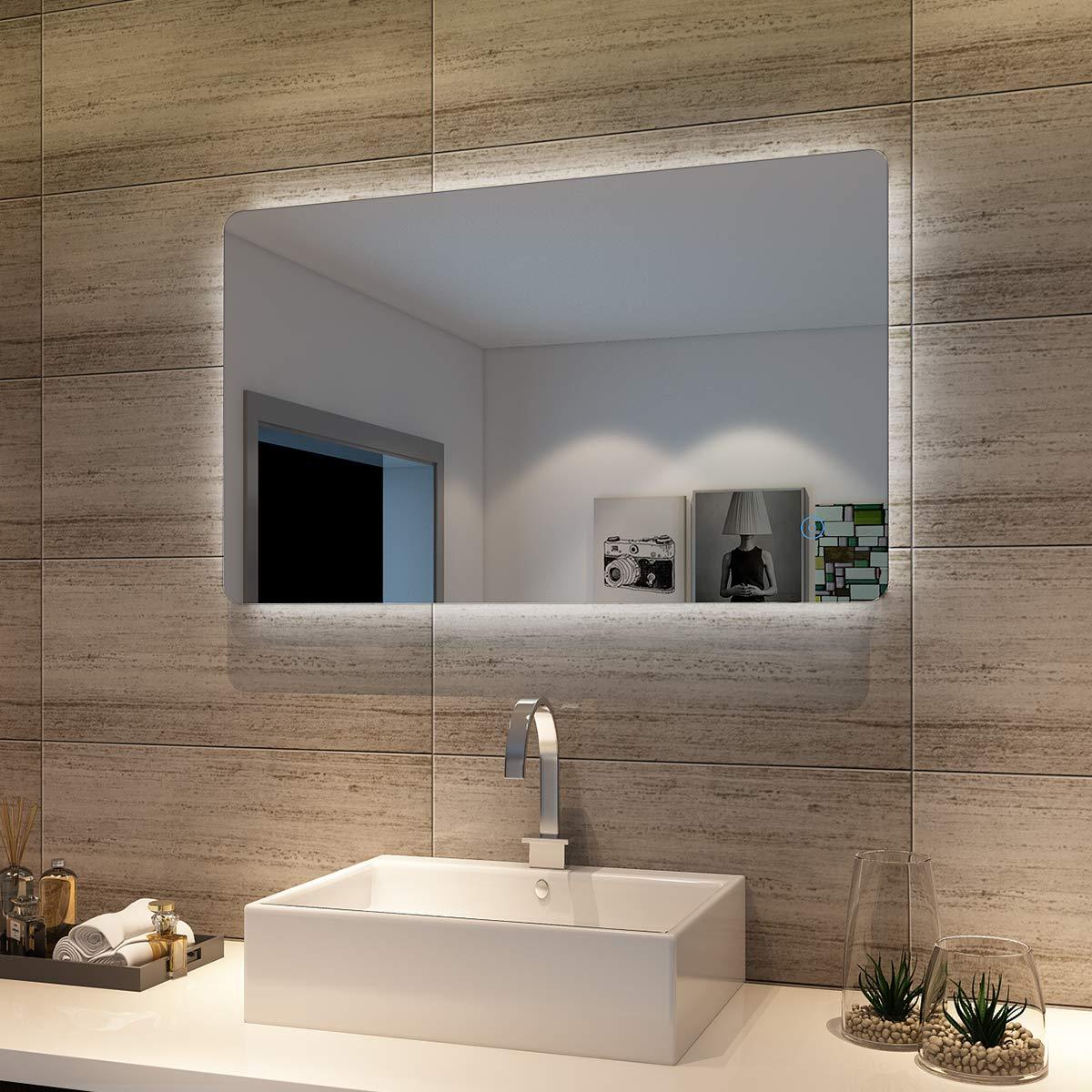 Badspiegel Lichtspiegel LED Spiegel Wandspiegel mit Touch-Schalter 100 x 60cm kaltweiß IP44 energiesparend beschlagfrei
