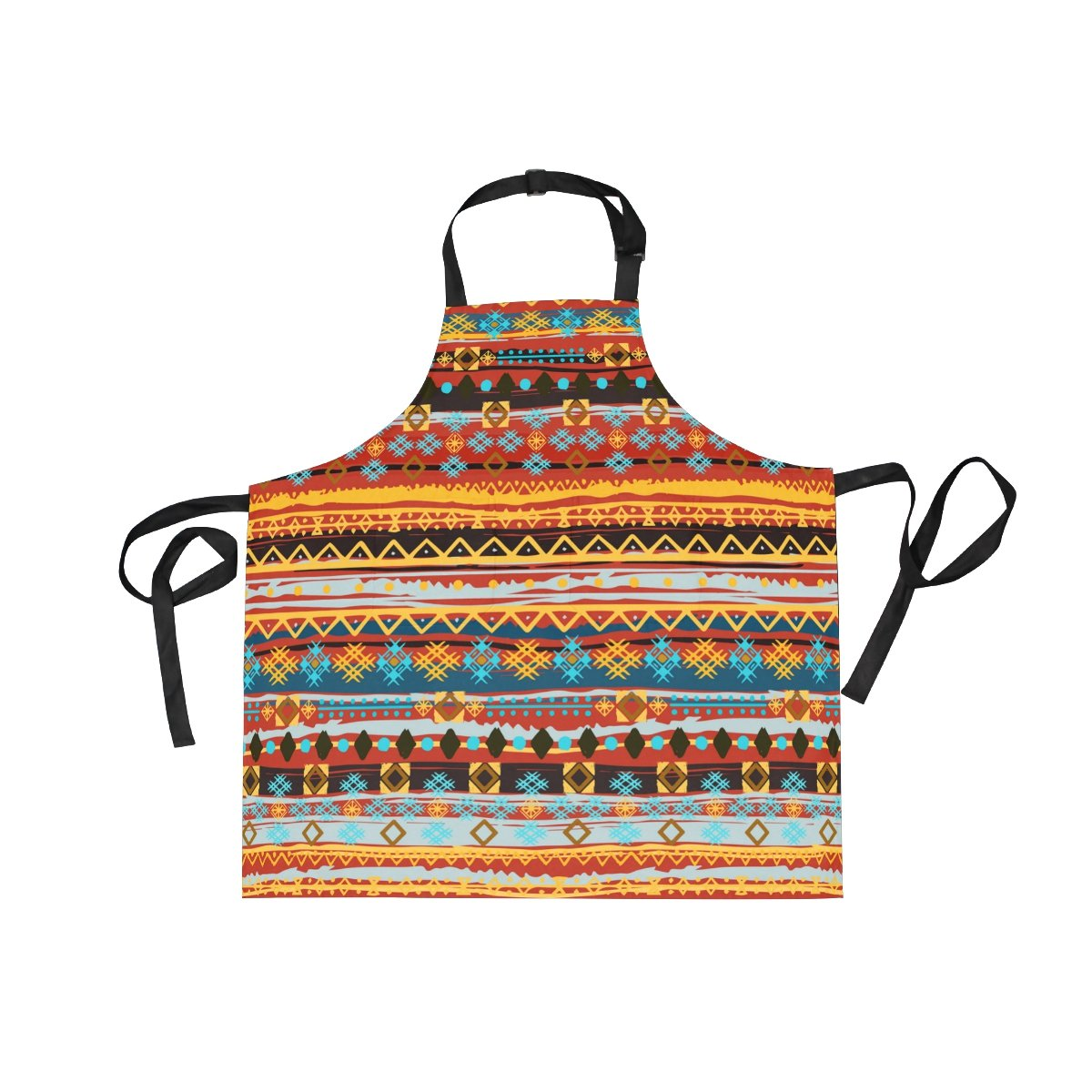 Ethnic Boho Pattern Women's Cooking Kitchen Bib Aprons with Pockets for Chef Men La Random