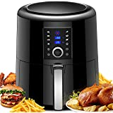Air Fryer XL, 5.5L Airfryer Oven Oilless Cooker with Hot Air Circulation Tech for Fast Healthier Food, 7 Cooking Presets and Heat Preservation Function - LCD Touch Screen (Recipe Book Included)